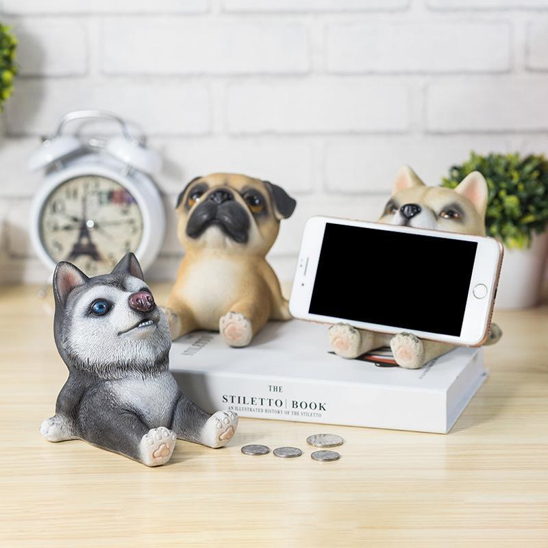 Bonitos da Resina do Cão do Animal de Estimação Suportes do Telefone Móvel e Mealheiro Acessórios da Decoração da Casa Presente do Feriado Ornamentos Multifuncional 10x13x12cm