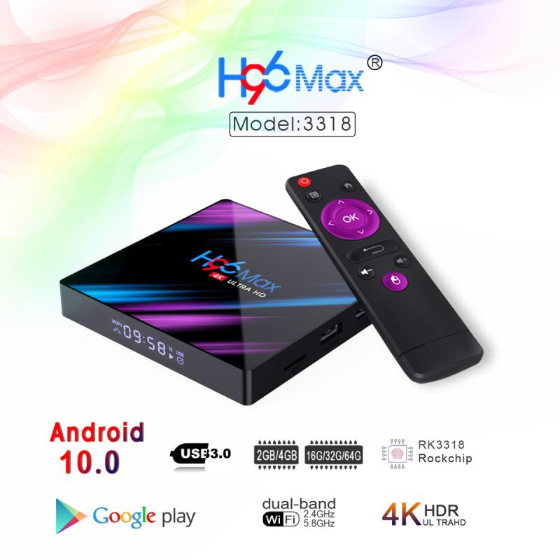 H96 Max 3318 Plus TV Box Android 9.0 Bluetooth 4.0 Rk3318 100m Lan 4GB 64GB 2.4G/5G Wifi 4k For Andr
