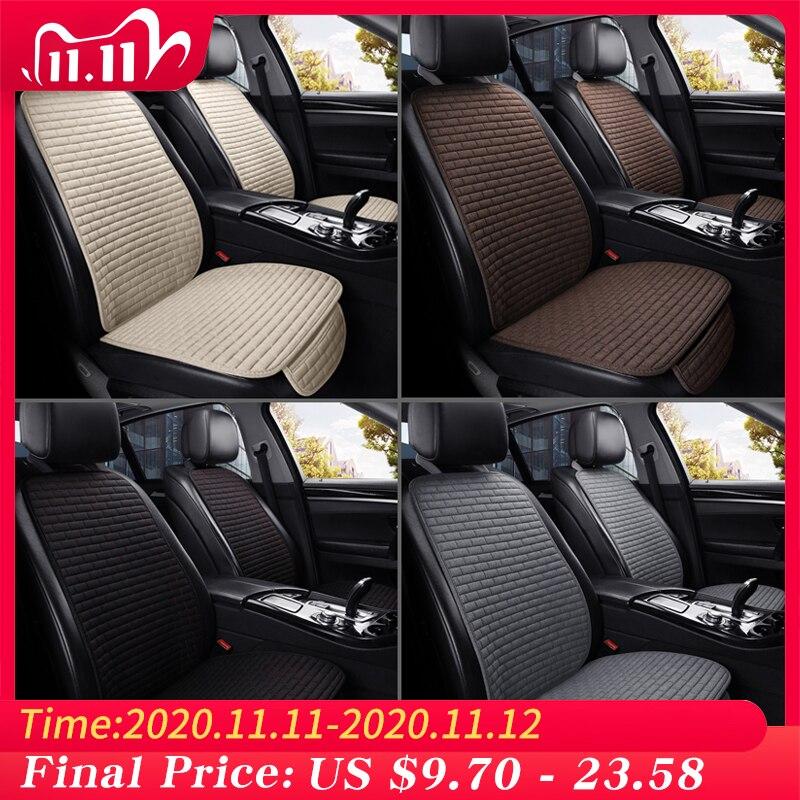 Чехол для автомобильного сиденья передняя/задняя льняная подушка для защиты автомобильного сиденья протектор подушки сиденья коврик для а...
