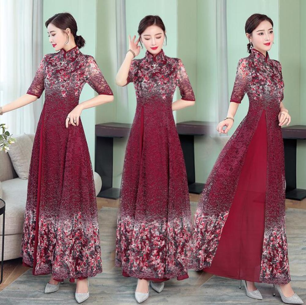 Womens Improved Retro Printed Lace Banquet Gown Chinese Style Stand Collar Stitching Irregular Hem Maxi Qipao Dress