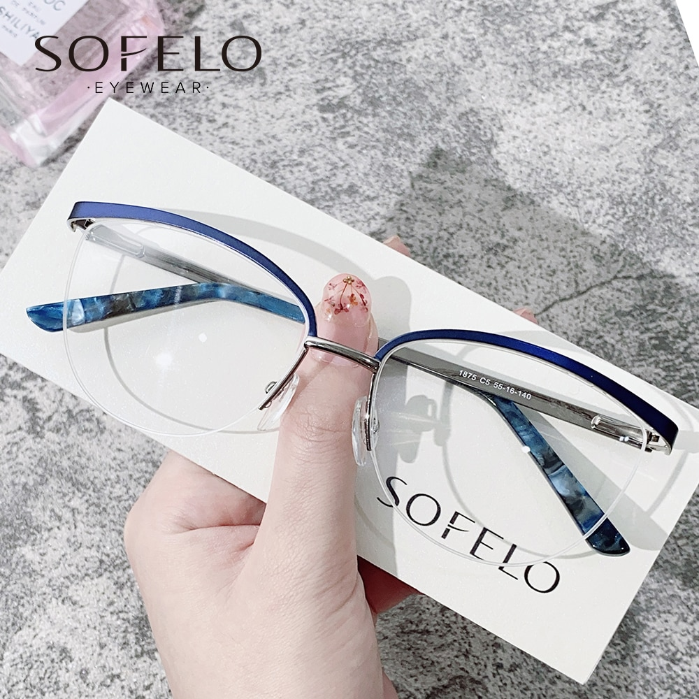 Semi Rimless Optical Prescription Glasses Female Myopia Progressive Eyeglasses For Women Multifocal