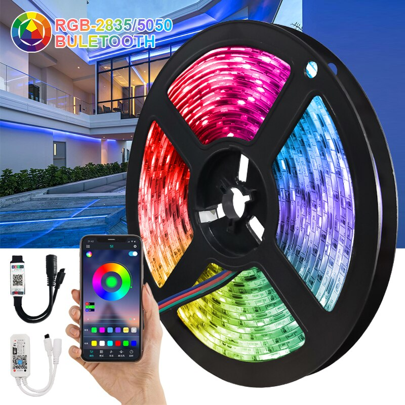 Tira de luces LED con Bluetooth DC12V, resistente al agua, WiFi, lámpara...
