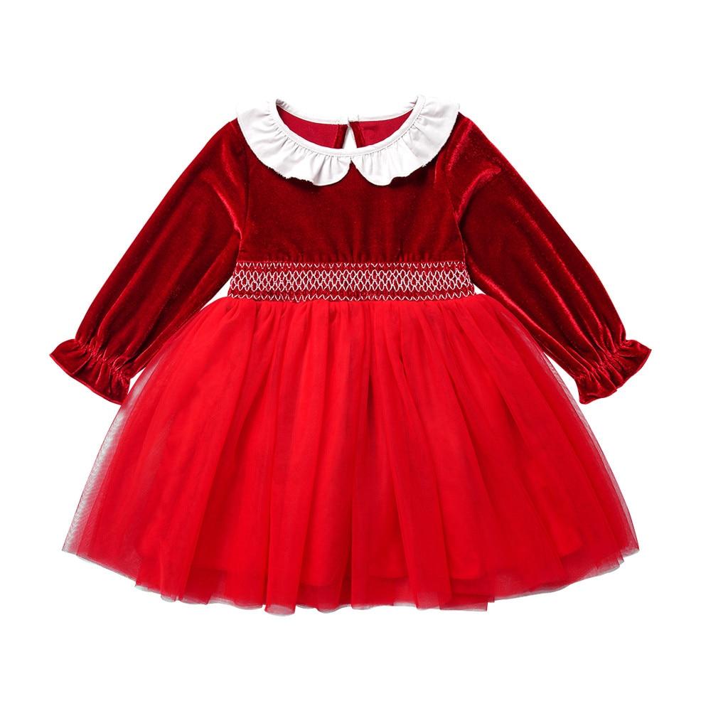 Crianças da criança do bebê meninas vestido de natal auturm inverno manga longa retalhos vestido de princesa roupas de natal vestidos outfits