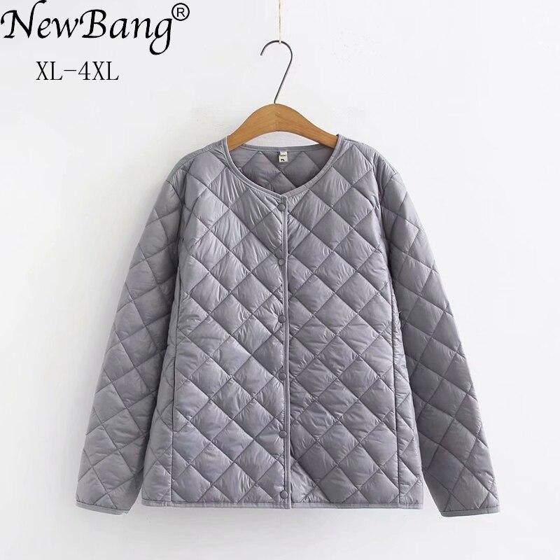 NewBang 4XL حجم كبير خفيفة الوزن القطن معطف المرأة شتاء دافئ بطانة طوق معطف الإناث ضئيلة جاكيتات
