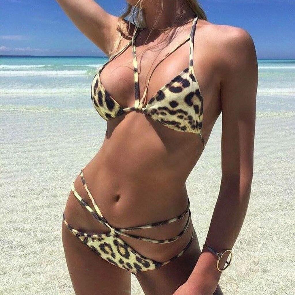 # K2 mujeres leopardo Bikini Set Sexy bikni verano alta cintura traje de baño vendaje traje de baño mujer ropa de playa Biquini