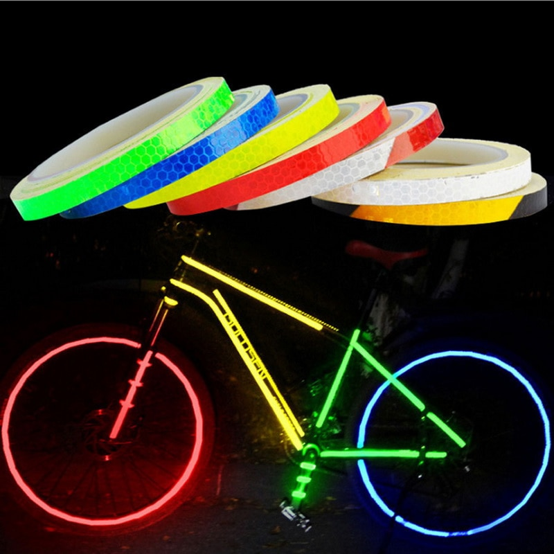 1cmx 8m Reflective Tape for Bicycle Fluorescent Cycling MTB Sticker Bicycle Car Motorcycle Accessories Decoration Road Reflector