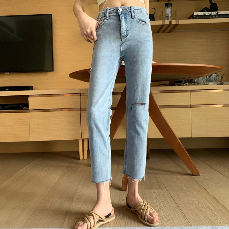 Fashionable Slim Small Leg Straight Tube Hole Jeans Women's New All-around High Waist Slim Cropped Pants In Spring and Summer