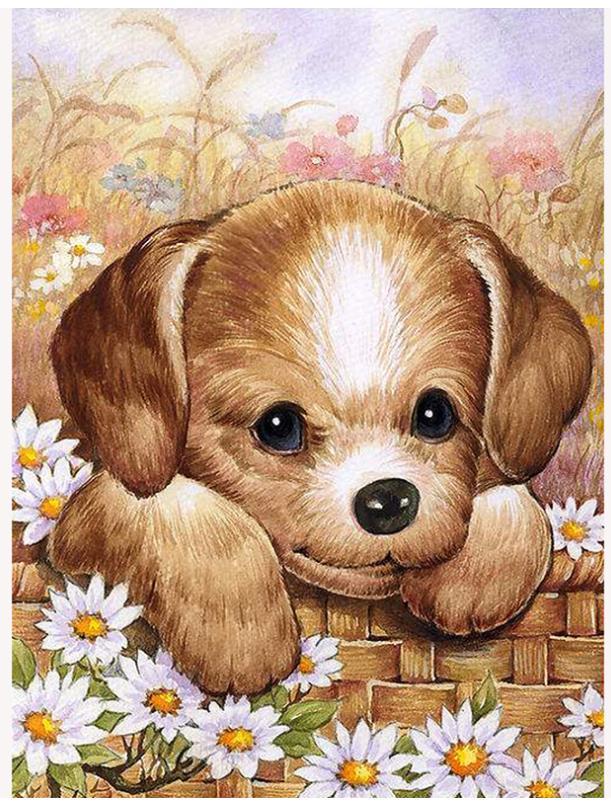 Margarida diamante mosaico filhote de cachorro diamante arte pintura desenho imagem quebra-cabeça ceia papel de parede decoração do grânulo bordado ponto cruz