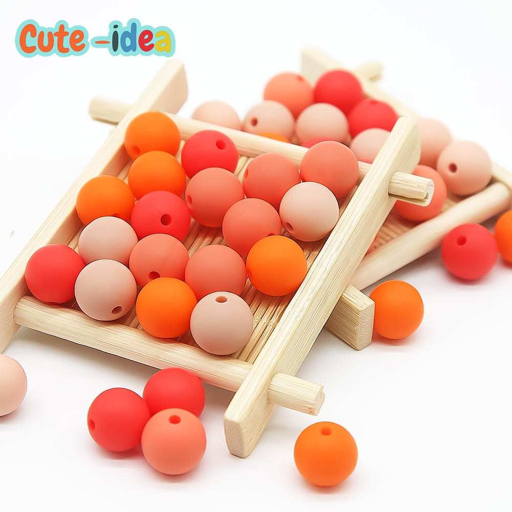 Cute-idea 1000pcs Round Silicone Beads 12mm Food Grade Beads DIY Baby Pendant Necklace Teething Pacifier clips  Nursing Necklace