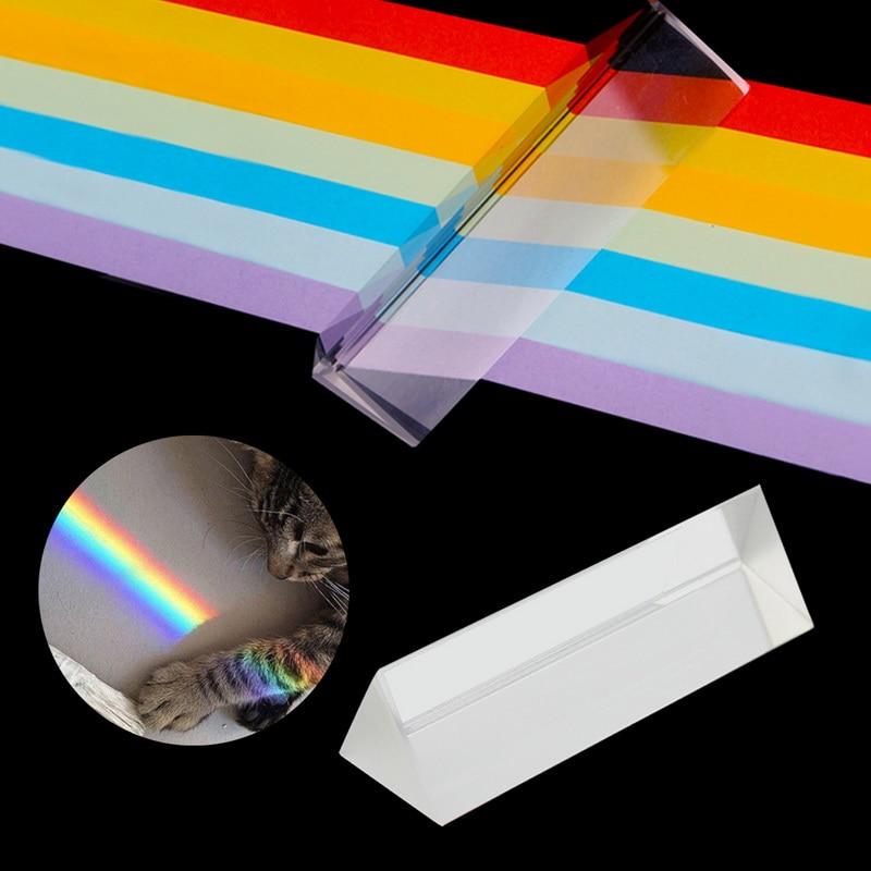 Prismas ópticos triangulares de vidrio de 25x25x80mm, luz refractada para enseñanza de física, regalo para estudiantes y niños