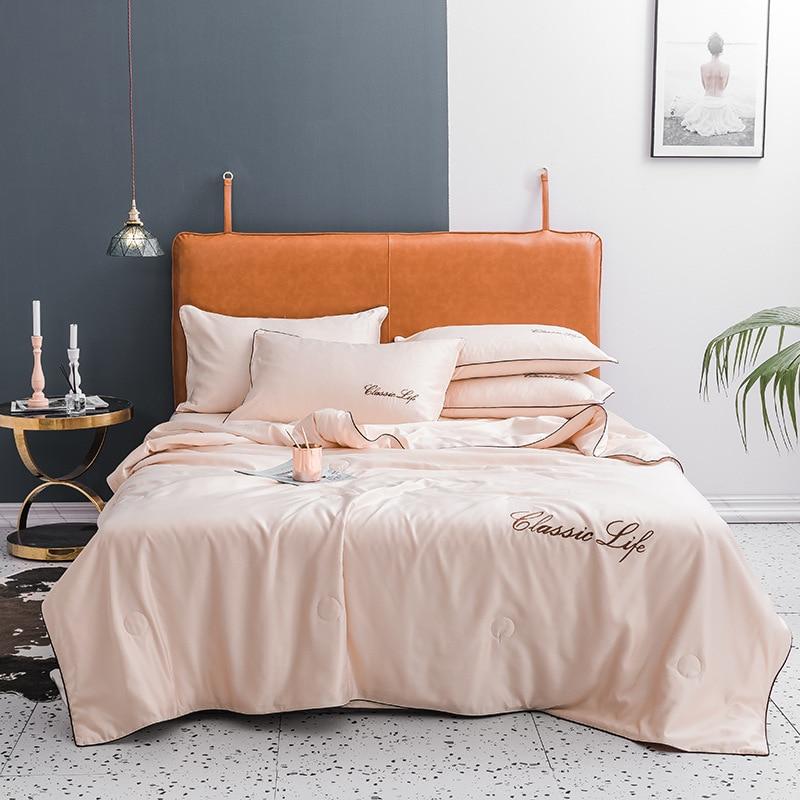 لحاف صيفي كلاسيكي بلون سادة ، مفرش سرير حريري تقليد الأبجدية ، تطريز مكيف هواء ، أريكة منزلية ، قيلولة