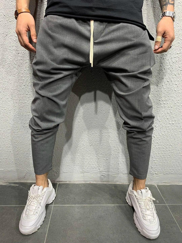 Мужские повседневные брюки, Костюмные брюки с кулиской, однотонные мужские брюки-карандаш в стиле хип-хоп для бега, черные, серые