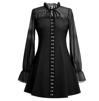 Ruibbit nova chegada do punk gótico retro preto mini vestido gótico harajuku bodycon vestido de malha manga longa sexy vestidos femininos