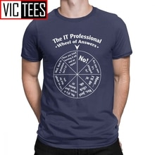 Casual The IT Professional Wheel Of Answers Tshirt for Men Cotton Tshirt Programmer Programming Soft