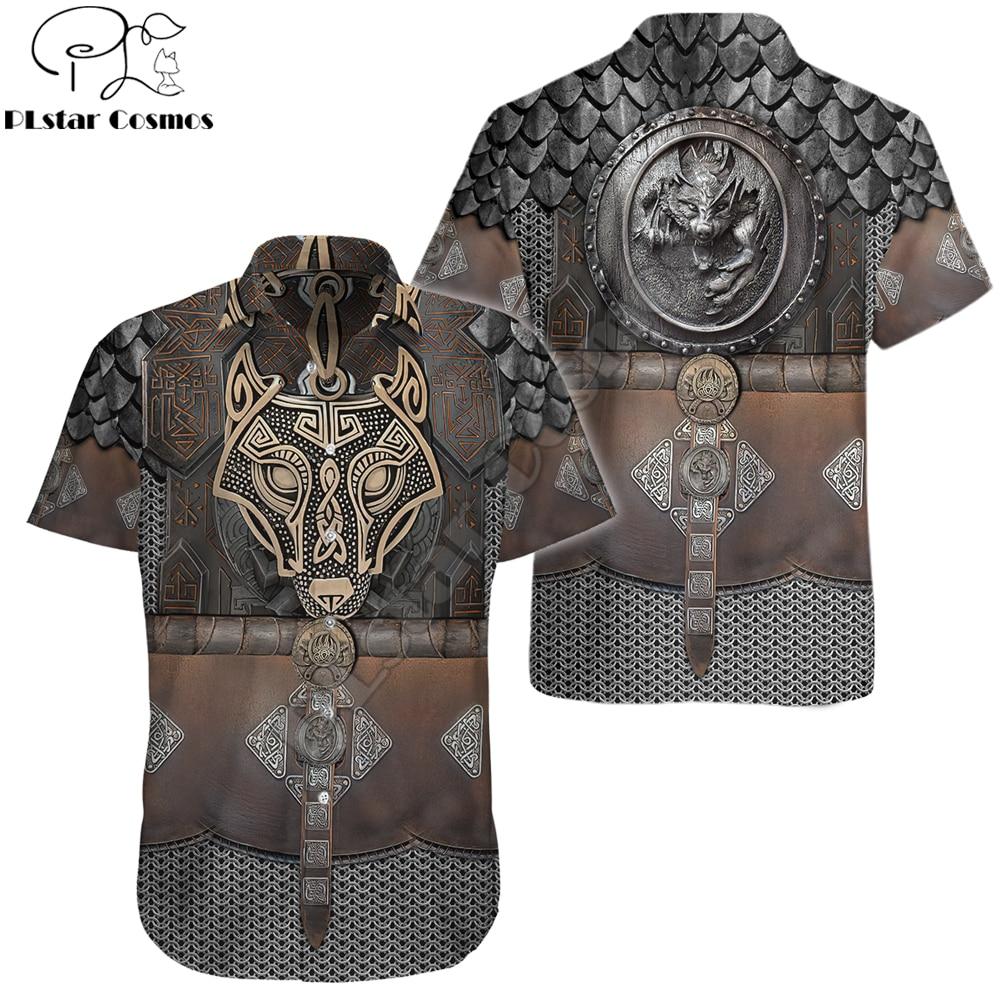 2022 Hot Summer Hawaii Short sleeve Shirts Viking Warrior Chain Armor 3D Printing Hawaiian Shirt Mens Casual Beach Shirt CY02
