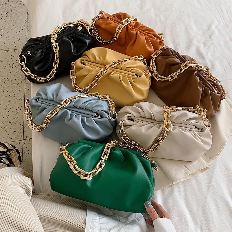 Luxury Design Handbags Women Shoulder Bag 2021 New Fashion Gold Chain Tote Pleated PU Leather Cloud Pouch Clutch Female Purses