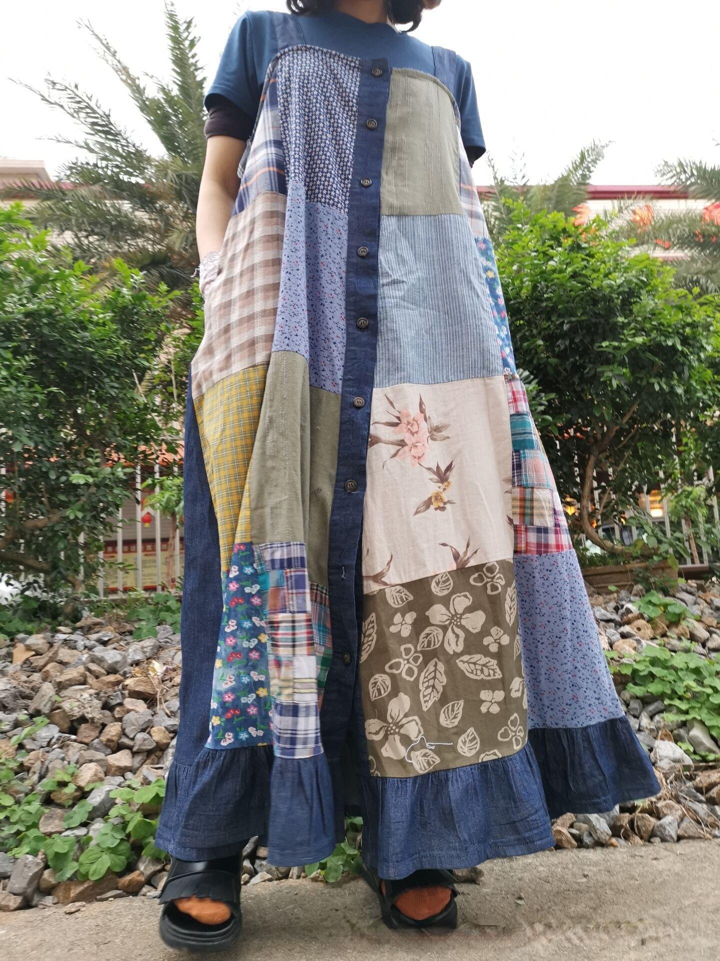 Casual Denim Patchwork Loose Thin Suspender Skirt Dress Women's Dress Summer 2021 Dress Women Summer