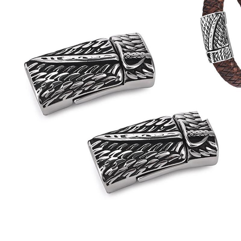 2 uds. Broches magnéticos de acero inoxidable para cuchillos compatibles con Cordón de cuero plano de 12x6mm conectores de hebilla magnéticos para hacer componentes de joyería DIY