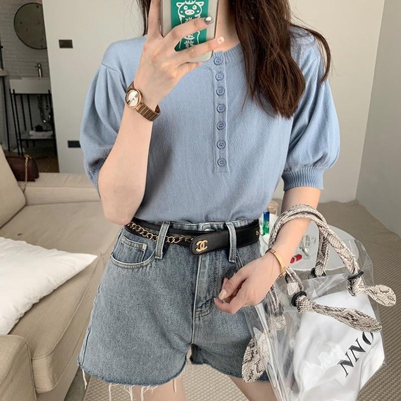 OUMENGKA Solid Half Sleeve Button Top Women Shirts Harajuku Korean Black Burgundy Cute Clothes  Cotton Basic Short T Shirt Femme