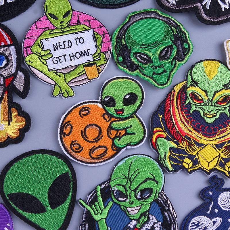Подвеска в виде космонавта и планеты нашивки на одежду Alien UFO, термоклейкие нашивки на одежду