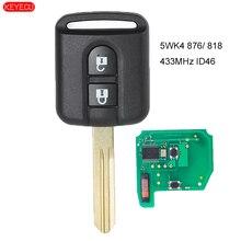 KEYECU télécommande 433MHz PCF7946   Pour Nissan Note NV200 Elgrand 2002 Qashqai Navara Micra 2015-818 FCC ID ID/
