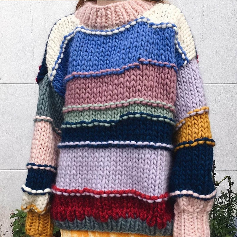 Autumn/winter new style hand-knitted rainbow stripes hit color sweater coat female thick needle sweater enlarge