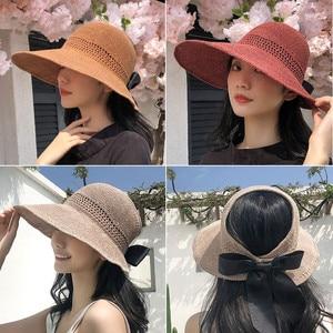 New Design Elegant Beach Sun Hat Ladies Lace Hollow Straw Knitted Empty Top Female Summer Bow Big Brim Sunhat