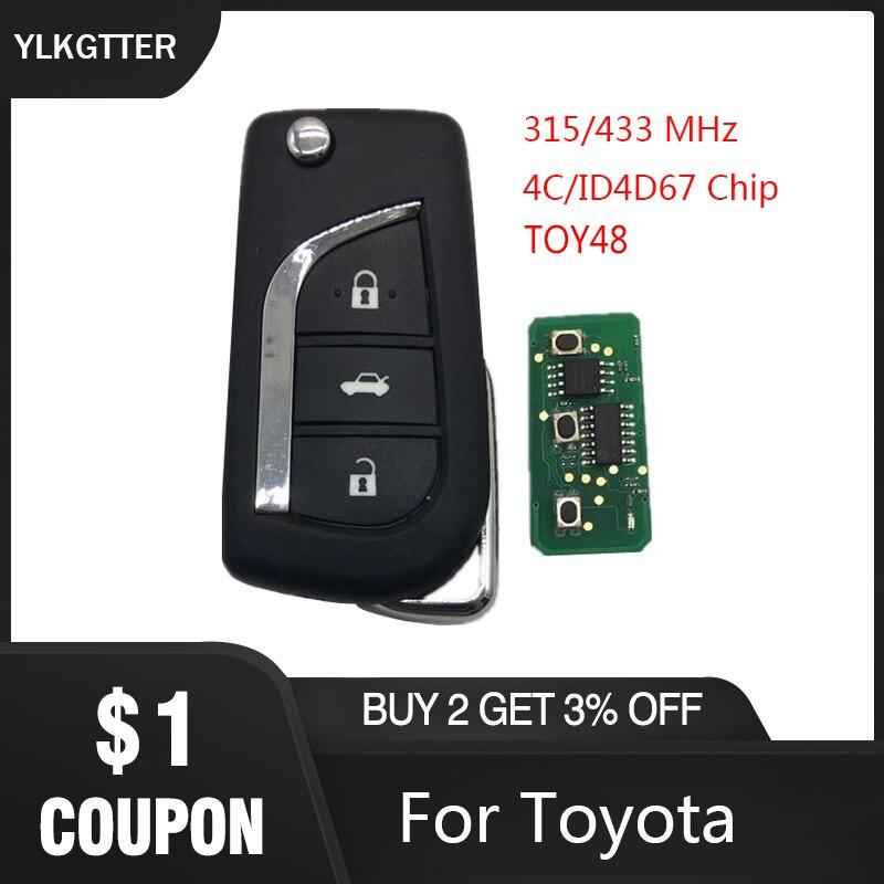 Ylkgtter 3 botão toy48 flip chave remota inteligente para toyota aygo corolla yaris camry verso com 315/433 mhz 4d67 id67 transponder