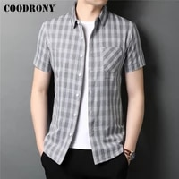 coodrony brand summer new arrival streetwear fashion plaid real pocket soft cotton short sleeve casual shirt men clothing c6090s