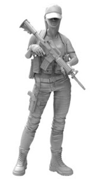 Nuevo soporte de chica moderno sin montar 1/16, con sombrero, figura de resina, miniatura sin pintar, Kit