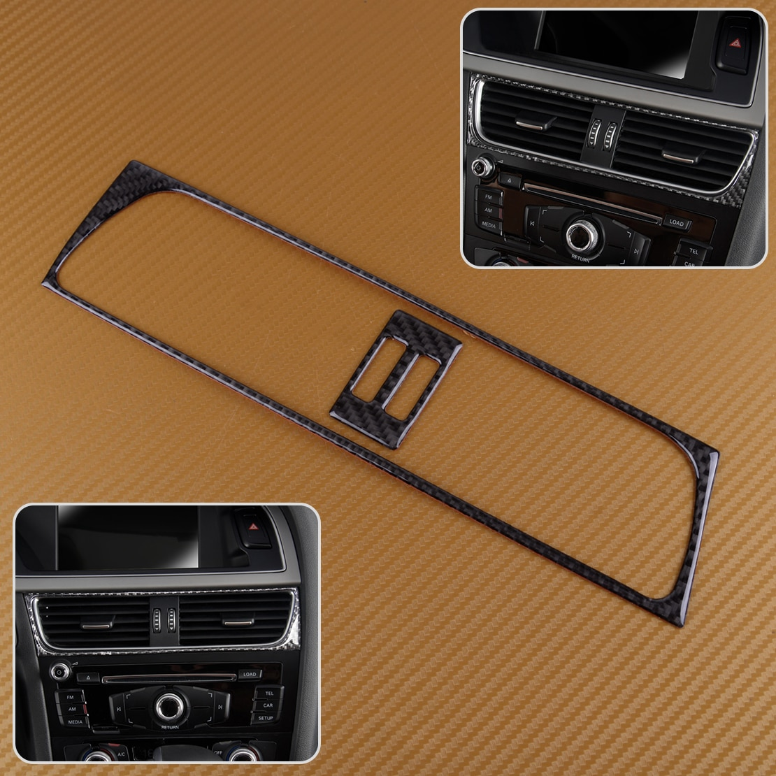 Beler de fibra de carbono estilo consola acondicionador de aire de salida cubierta de ventilación Trim para Audi A4 A5 Q5 2013, 2014, 2015, 2016