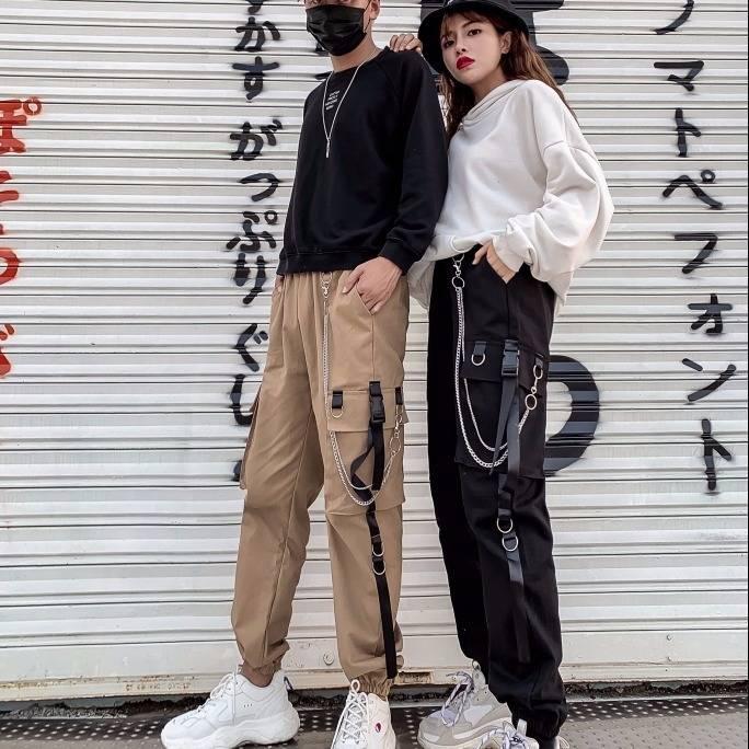 Стильные прямые брюки с высокой талией уличная женская зимняя уличная одежда, женские уличные панковские штаны в стиле ретро черного цвета в стиле Харадзюку, повседневные брюки