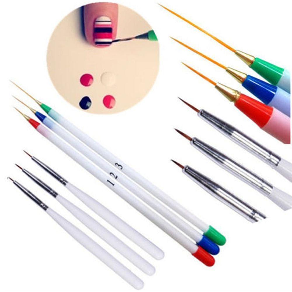 Juego de 6 unidades de pincel tipo lápiz acrílico francés para decoración de uñas, bolígrafo de dibujo, Kit de herramientas para punteado, pincel de rayas de pintura plástica para uñas
