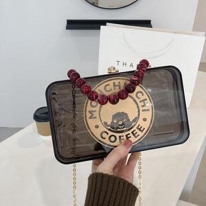2021 New Fashion Single Shoulder Chain Small Square Purses and Handbags Luxury Designer Satchel Handbag Clear Purse for Women