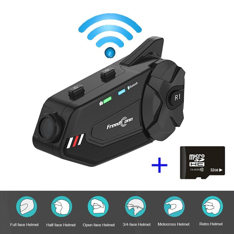 R1 Plus Wifi motocicleta grabadora DVR Bluetooth 5,0 Grupo hablar 6 intercomunicador para motociclistas 1080P Video casco interfono auriculares