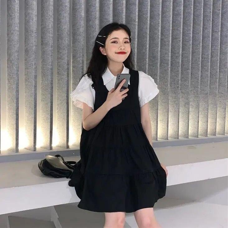 Women's Suspender Pettiskirt 2020 Summer New Two Piece Set Women Sets Womens Outfits Lolita Bodycon Dress White Shirt Young New