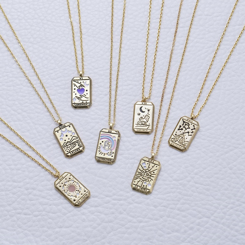 aliexpress.com - 2021 Gothic Tarot Card Pendant Necklace Square Amulet Chain Necklaces Vintage Moon Sun World Love Power Necklace Hot  Jewelry