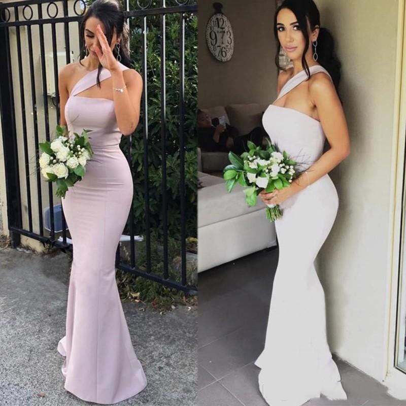 2020 Modern Mermaid Bridesmaid Dresses For Weddings Satin One Shoulder Sleeveless Floor Length Plus Size Formal Maid of Honor