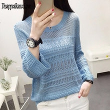 2020 Casual ladies o-neck Hollow out sweater women Autumn winter Loose pullovers female Long sleeve