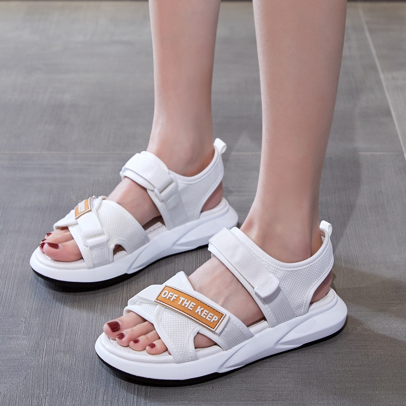 AIBA, novedad de 2020, sandalias deportivas ligeras a la moda para mujer, zapatos casuales con diseño de velcro ajustable, zapatillas de tela de malla de punto