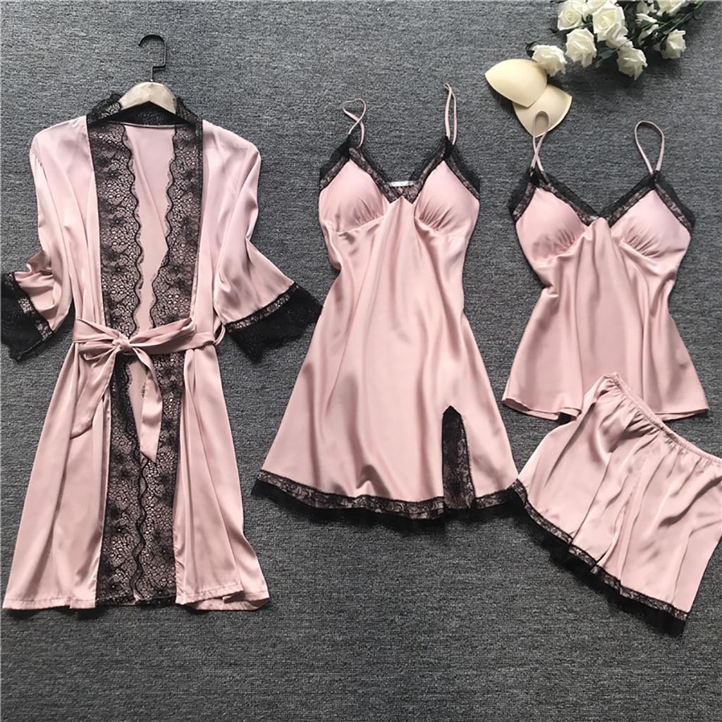 2020 Women Pajamas Sets Satin Sleepwear Silk 4 Pieces Nightwear Pyjama Spaghetti Strap Lace Sleep Lounge Pijama With Chest Pads