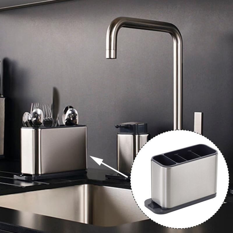 أدوات مائدة مائدة تجفيف الفولاذ المقاوم للصدأ مستطيلة حامل أواني المطبخ المنزل المضادة للانزلاق متعددة فتحة أسفل مع فتحات استنزاف