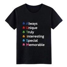 Camiseta de manga corta personalizada para hombres para autismo, ropa de calle de S-XXXL, Camiseta con estampado de primavera cómoda loca