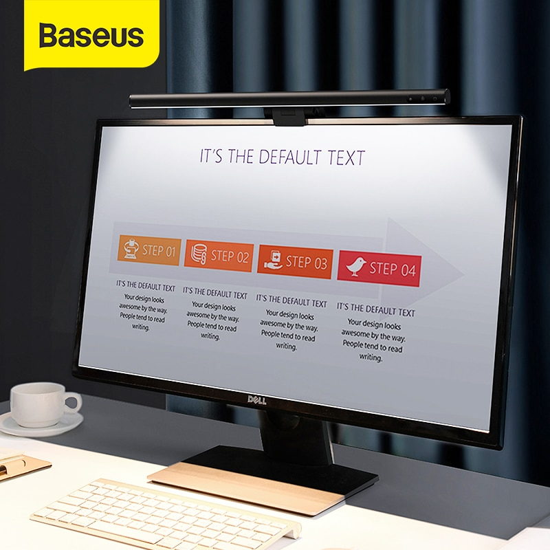 Baseus Stepless Dimming Eye-Care LED Desk Lamp For Computer PC Monitor Screen Hanging Light LED Reading USB Powered Lamp