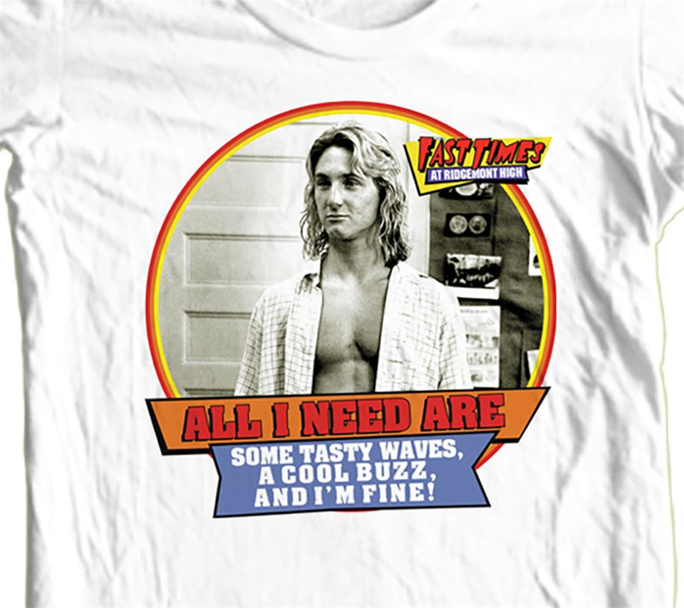 Fast Times Ridgemont camiseta alta Jeff Spicoli retro 1980 Tops de algodón camiseta gráfica personalizada