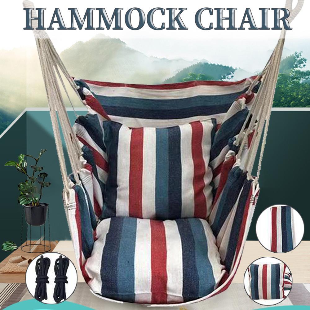 Портативное кресло-гамак, подвесное кресло-качели с 2 подушками, для сада, дома и улицы, модные качели