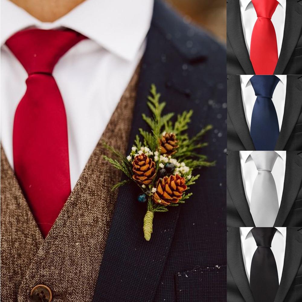 Классические атласные галстуки для мужчин, повседневные Галстуки для костюма, галстуки для костюма, однотонные черные мужские галстуки для...