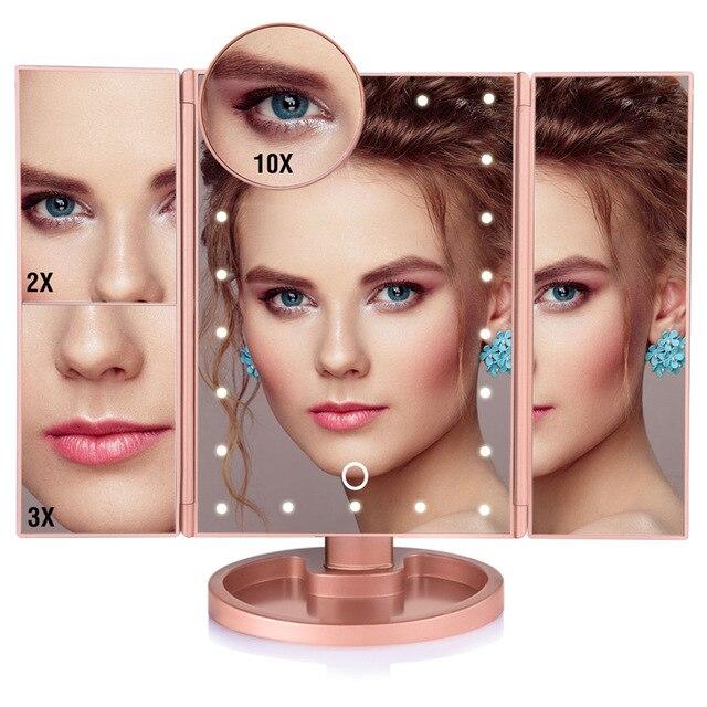 Espejo de maquillaje con 22 luces LED para pantalla táctil, mesa de maquillaje, 3 espejos plegables para tocador, 1 x 2X 3X 10X, espejo cosmético con aumento
