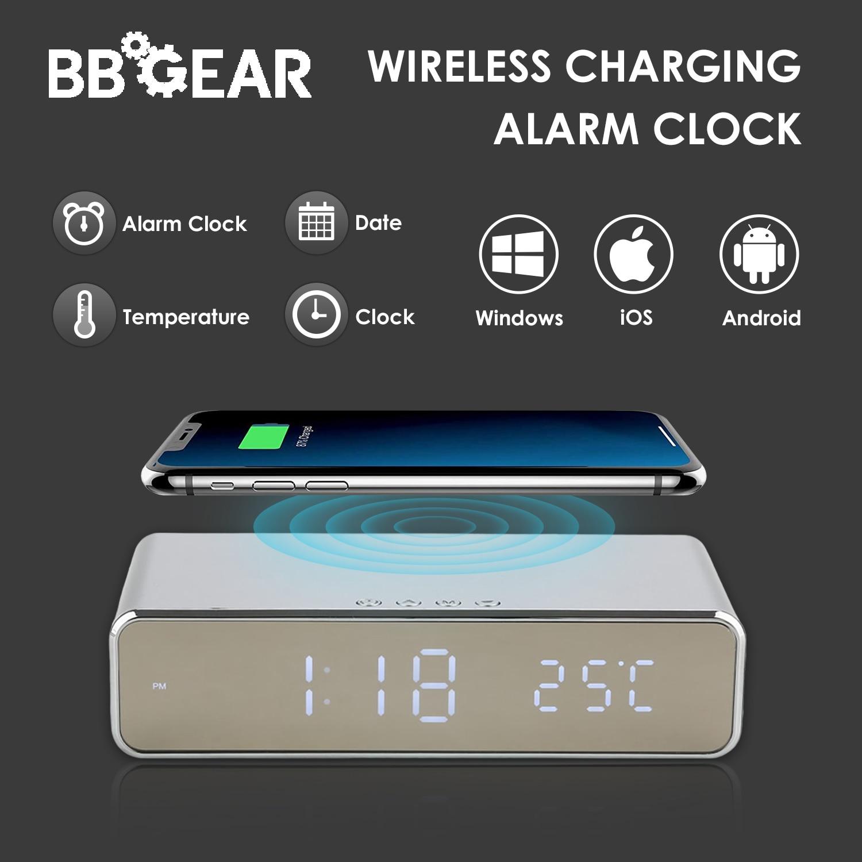 Multifuncional carregador de telefone sem fio com led despertador moderno qi carregamento eletrônico desktop digital despertador data temp