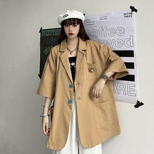 Short Sleeve Suit Long Coat Women 2021 Loose Design Niche Casual Fried Street Top Gothic Blazer Muje